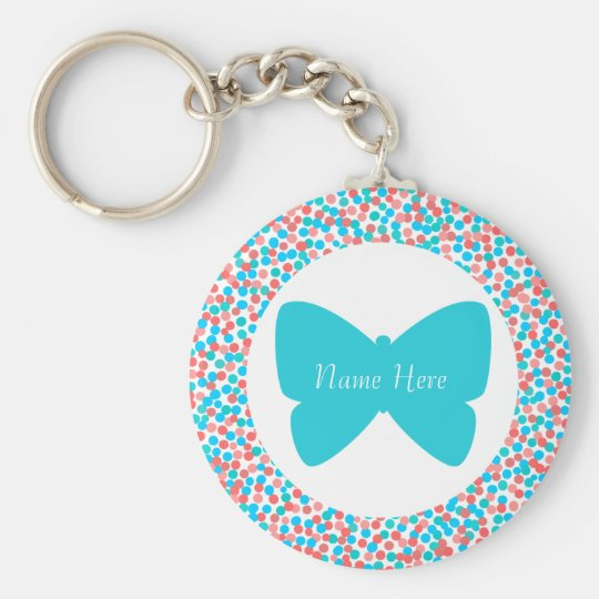 Template Butterfly Dots Keychain - 369 Aqua