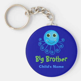 Template - Custom Octopus Big Brother Child's Name Basic Round Button Key Ring