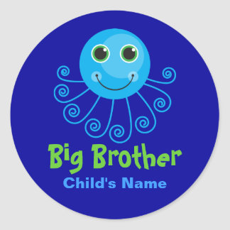 Template - Custom Octopus Big Brother Child's Name Classic Round Sticker