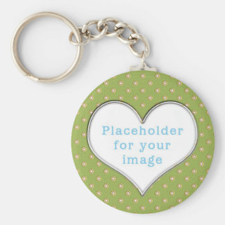 "Template ""Cute Flowers"" Basic Round Button Key Ring"