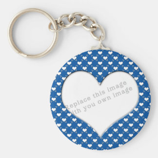 "Template ""Cute Hearts"" Basic Round Button Key Ring"