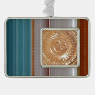 Template DIY Photo Text greeting OM MANTRA Silver Plated Framed Ornament
