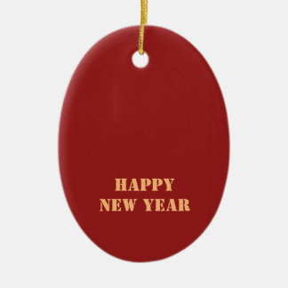 Template editable text 2017 Happy NEW YEAR Ceramic Oval Decoration