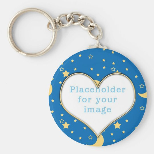 """Template """"Moon & Stars"""" Basic Round Button Key Ring"""