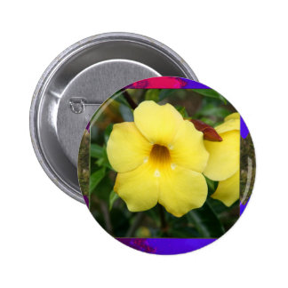 Template orchid flowers butterfly pink yellow gift 6 cm round badge
