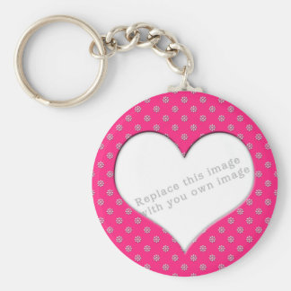"Template ""Pink with Flowers"" Basic Round Button Key Ring"