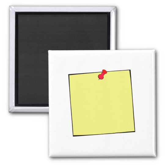Template-Post It Note Pin Square Magnet
