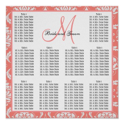 Free Wedding Seating Chart Maker on Template Wedding Seating Chart Damask Coral Pink Print   Zazzle Co Uk