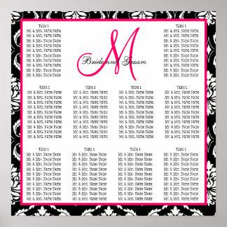 Template Wedding Seating Chart Damask Pink Poster
