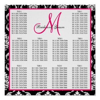 Template Wedding Seating Chart Damask Pink Posters