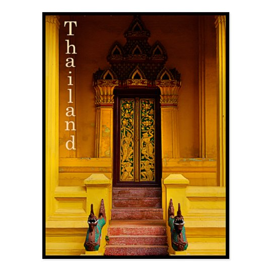 Temple Entrance Guardians,Thailand Postcard