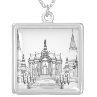 Temple Faade Silver Plated Necklace