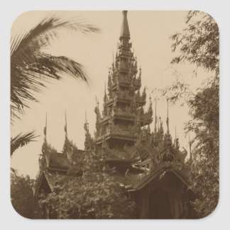 Temple in Mandalay, Burma, late 19th century Square Sticker