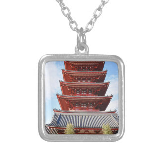 Temple in Tokyo, Japan Silver Plated Necklace