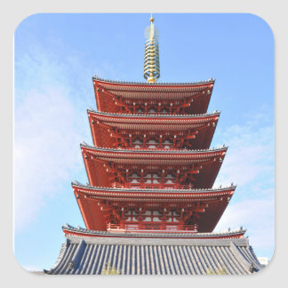 Temple in Tokyo, Japan Square Sticker
