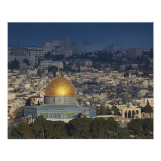 Temple Mount and Dome of the Rock, dawn Poster