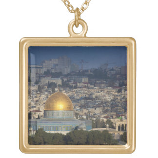 Temple Mount and Dome of the Rock, dawn Square Pendant Necklace