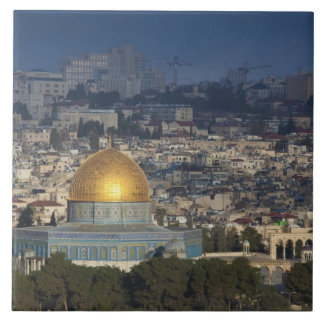 Temple Mount and Dome of the Rock, dawn Large Square Tile