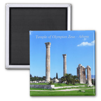 Temple of Olympian Zeus - Athens Square Magnet