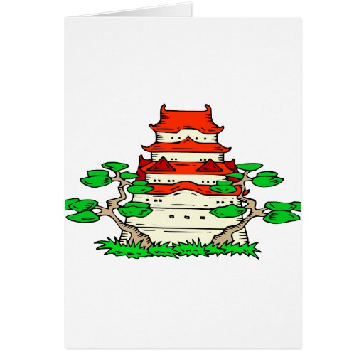 Temple With Two Bonsai Graphic image Card