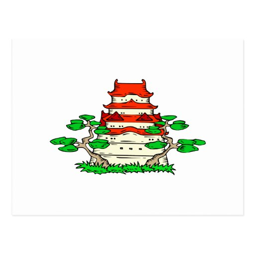 Temple With Two Bonsai Graphic image Post Card