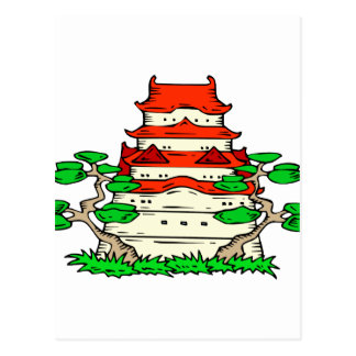Temple With Two Bonsai Graphic image Postcard