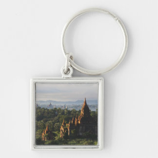Temples at sunrise, Bagan, Myanmar Silver-Colored Square Key Ring