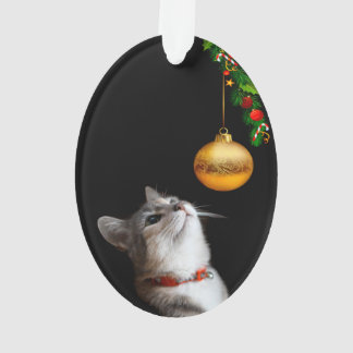 Tempted kitty cat Christmas Ornament