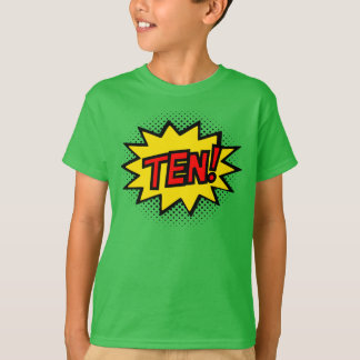 TEN! 10th Birthday Gift Superhero Logo T-Shirt