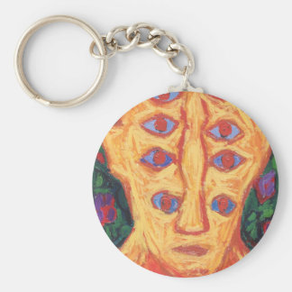 Ten Blue Eyes (odd expressionism surreal portrait) Basic Round Button Key Ring