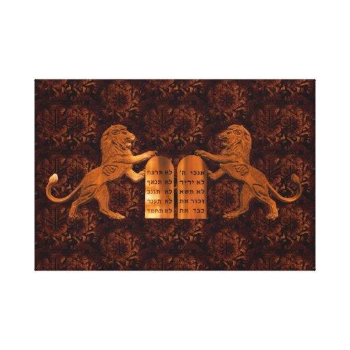 Ten Commandments and Lions Stretched Canvas Prints