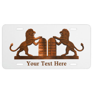 Ten Commandments and Lions License Plate