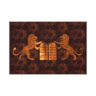 Ten Commandments and Lions Stretched Canvas Print