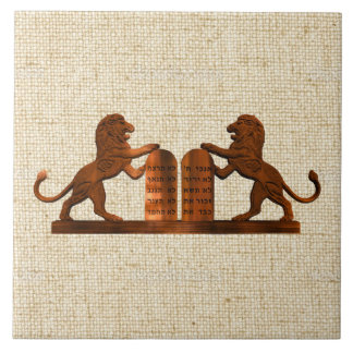 Ten Commandments and Lions Tile