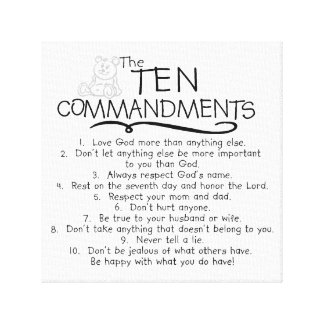 Ten Commandments for Kids Childrens Church Gallery Wrap Canvas