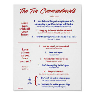 Ten Commandments for Kids--Red/Navy 2 Poster