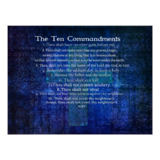 Ten Commandments listed  in order Poster