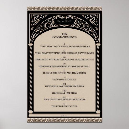 Ten Commandments on Parchment Art Deco Arch Scroll