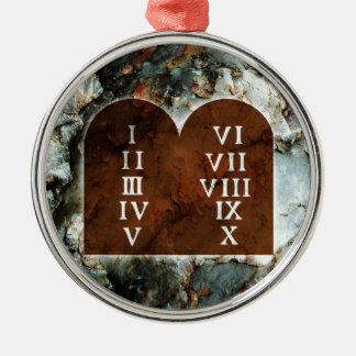 Ten Commandments Silver-Colored Round Decoration