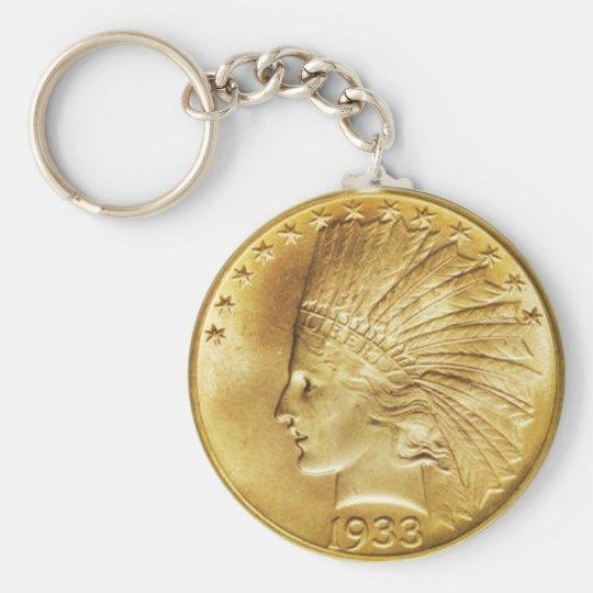 Ten Dollar Gold Indian Coin Basic Round Button Key Ring