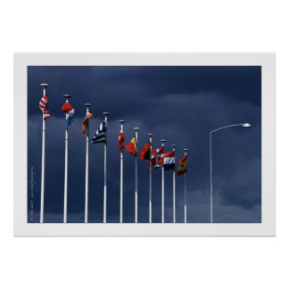 Ten flags and a street lamp poster