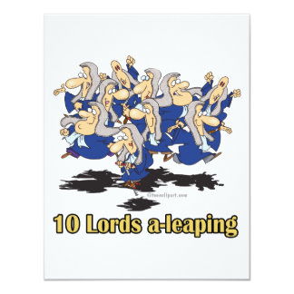 ten lords a-leaping 10th tenth day of christmas 11 cm x 14 cm invitation card
