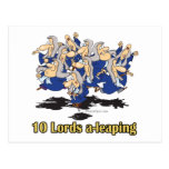ten lords a-leaping 10th tenth day of christmas postcard
