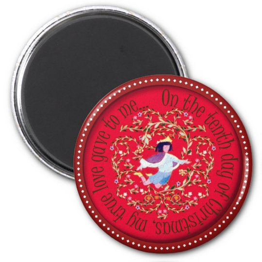 Ten lords aleaping 6 cm round magnet