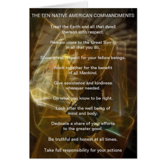Ten Native American Indian Commandments Card