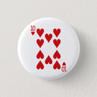 Ten of Hearts Playing Card 3 Cm Round Badge