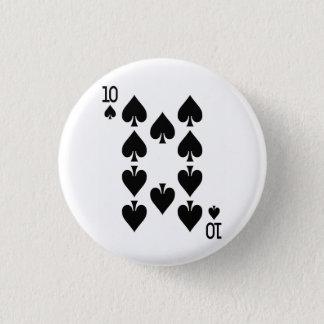 Ten of Spades Playing Card 3 Cm Round Badge