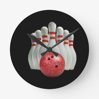 """""""Ten pin bowling 2"""" design gifts and products Round Clock"""