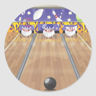 Ten Pin Bowling Alley Round Sticker