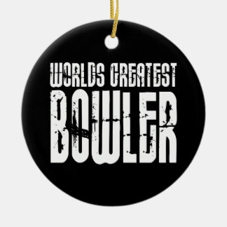 Ten Pin Bowling & Bowlers : Worlds Greatest Bowler Round Ceramic Decoration